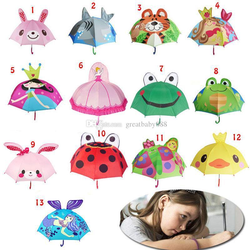 Belle Cartoon animaux conception parapluie pour les enfants Enfants de haute qualité parapluie 3D Creative parapluie bébé enfant Sun 47cm * 8K 13 Styles C6128