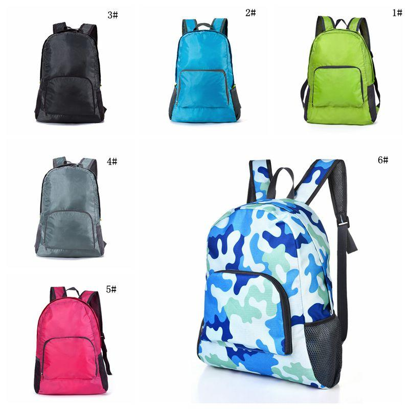 Dobrável Viagem Mochila Moda exterior portátil Esporte saco de nylon impermeável bolsa com zíper Saco de mão ajustável para Mulher Homens VT0494