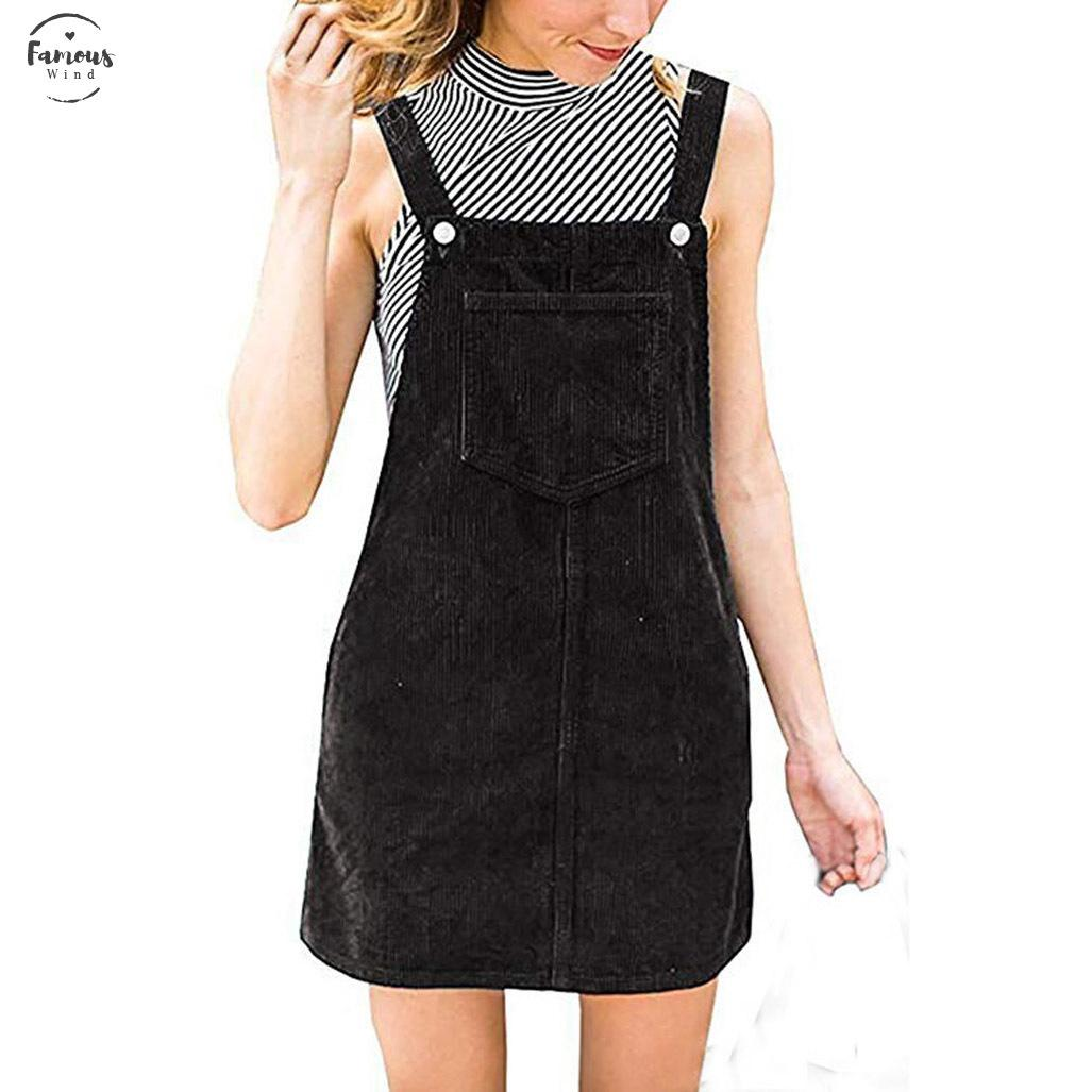 Dress Women Corduroy Straight Suspender Mini Bib Overall Pinafore Casual Pocket Women Dress Summer Dress Vestido Robe Femme