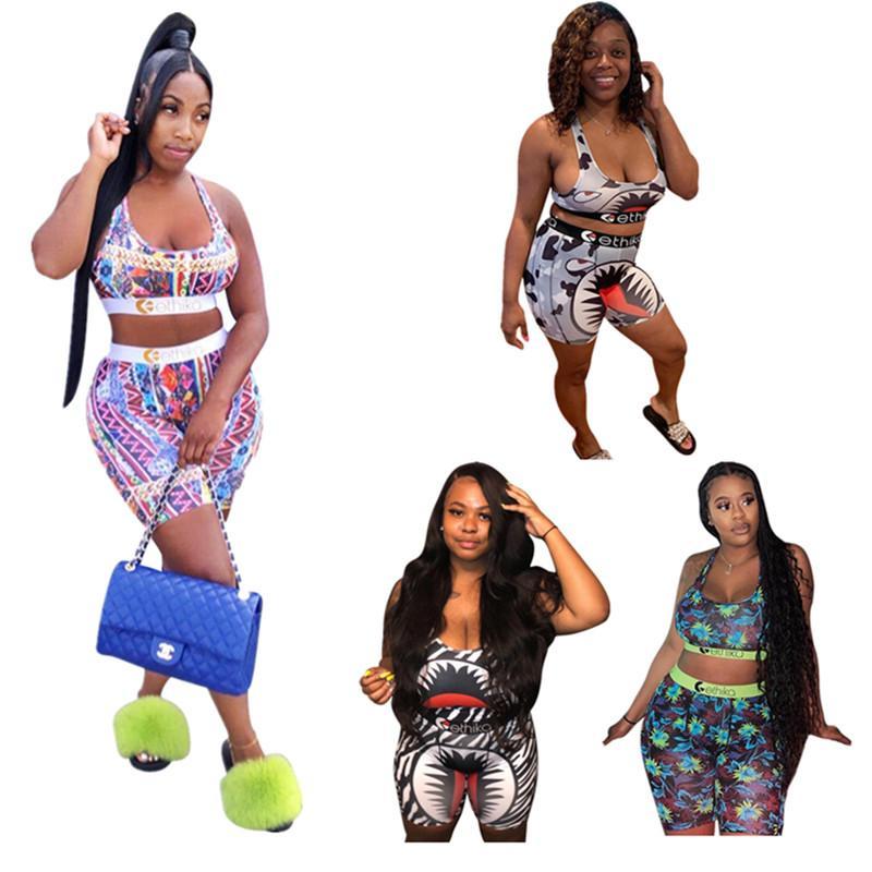 Mode Damen Shorts Badeanzug Shark Kettendruck 2 Stück Outfits Sport Push-Up-BH Weste-Behälter + kurze Hosen Anzug Bodycon Bademode Anzug