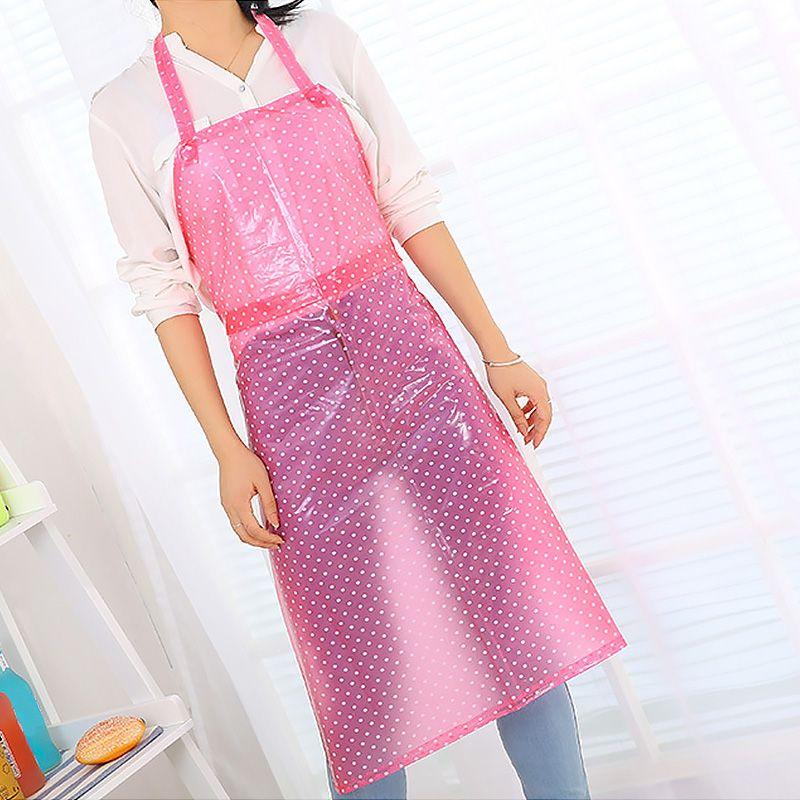 Sin mangas de PVC Delantal largo del estilo de la cocina delantal impermeable anti-aceite transparente La mitad de las mujeres de los hombres de limpieza