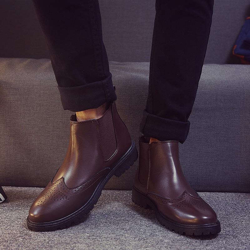 2177b3af08363b Black Brogue Chelsea Boots Mens Shoes Ankle Boots Men Footwear Artificial  Leather Chelsea Boots for Men Autumn Shoes XX-399