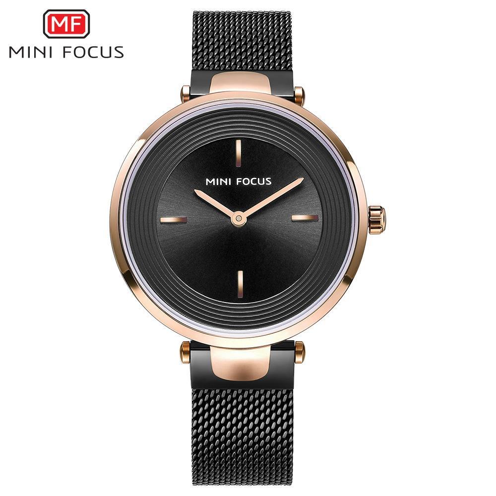 MINIFOCUS Business Fashion Relojes impermeables para damas Mujeres Reloj de pulsera con correa de acero inoxidable Oro Mujer Reloj analógico redondo MF0195L
