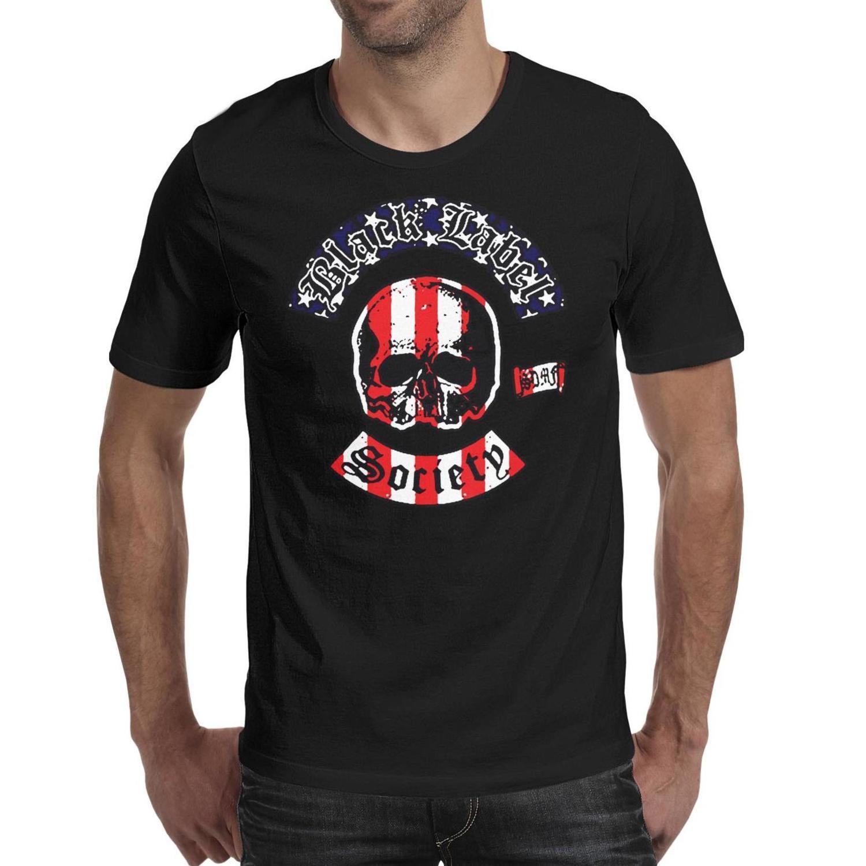 Moda Hombres de impresión Negro Label Society logotipo de la bandera americana camiseta personalizada negro de Hip Hop camisas Urban Angel of Doom puesta del sol