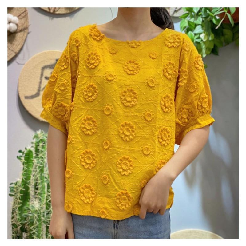 4 colors-- Красивые 3D цветов сшить кавай мило короткий рукав хлопок 100% рубашки 2020 Июня новыми