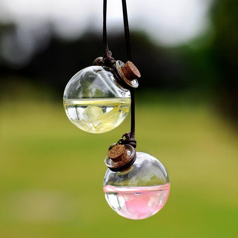 زجاجة عطر زهرة فارغة جولة مكعب زجاج سيارة شنقا زجاجات الزيوت العطرية قلادة حلية رائحة الهواء أعذب GGA1920
