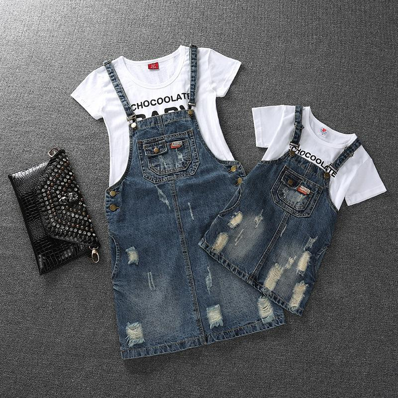 UK Family Matching Outfit Mother/&Daughter Floral Striped Tops Hole Pants Clothes