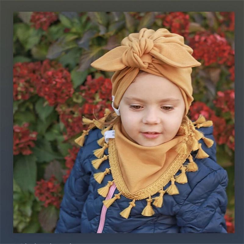 Kinder Rabbit Ears Hüte Schal Twinset Baby-Reifen Cap Ears Hat Lätzchen Dreieck ein Stück Stoff