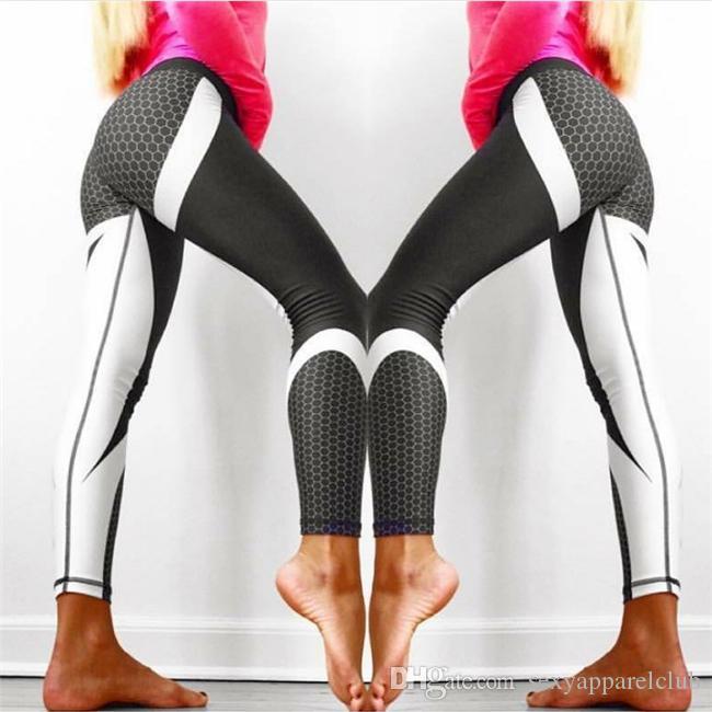 Yoga Pants Honeycomb Carbon Leggings Women Fitness Wear Workout Sports Running Leggings Push Up Gym Elastic Slim Pants