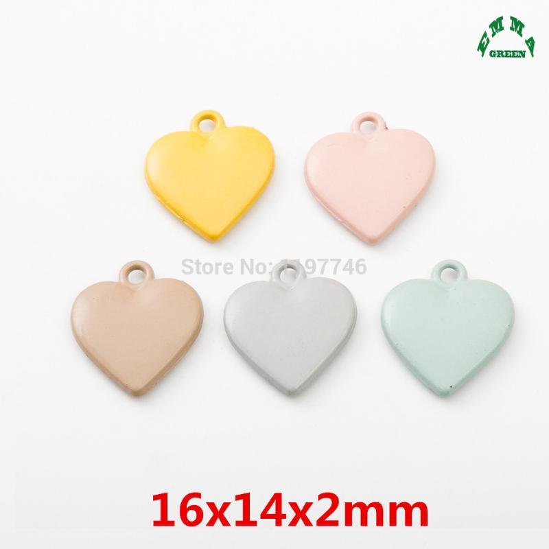 takı yapma 10pcs Bilezikler renkli boyalı Aşk Kalpler Charms Kolye Kalp Charms sevimli Kalp 23mm