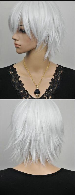 Парик короткие прямые белые модные женские парики женские волосы + парик кепка