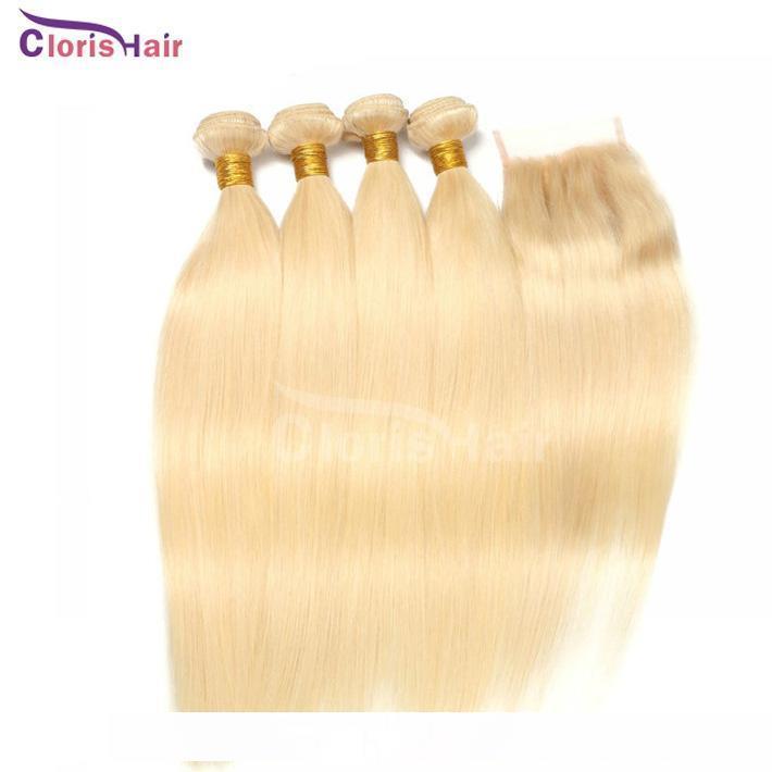 Бразильский Virgin Silk прямые волосы Плетение 3 пачки с Closure Дешевые # 613 Платина Blonde человеческих волос с 4x4 Top Lace Затворы