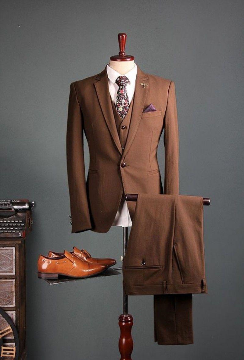 2019 light tan suits three pieces Mens Prom Tuxedos Suits Pants Jacket Pants Design Slim Fit Tailor Blazer(Jacket+Pants+Vest)