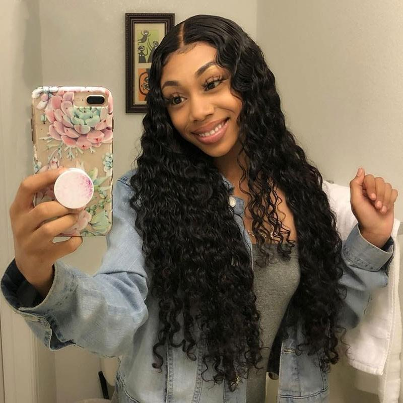 Malaysian Deep Wave Wig Curly Lace Front Wig with Baby Hair 130% Density Pre Plucked Human Hair Wig