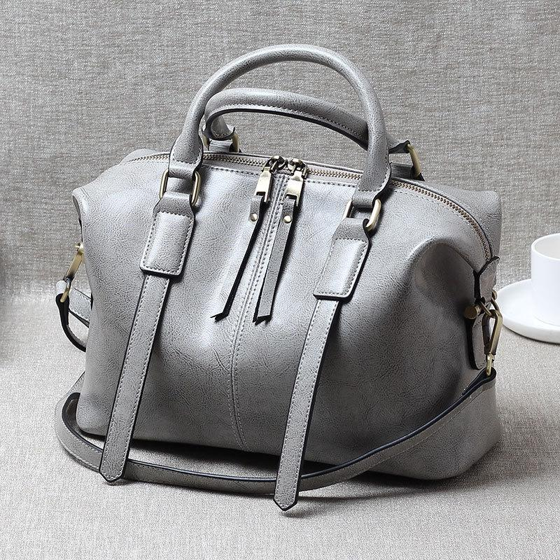 Exotic2019 Oil Wax Portable Cowhide Woman Boston Bag Tide Ma'am Genuine Leather Single Shoulder Satchel Package