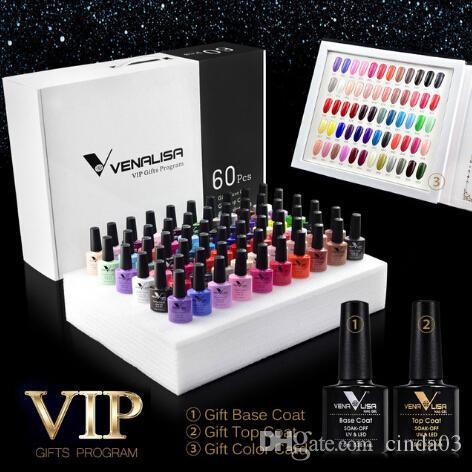 60 couleurs Vernis à ongles Un ensemble comprenant la base / Top Gel Professional Nail Art Gel Beatiful longue durée Gel Polish