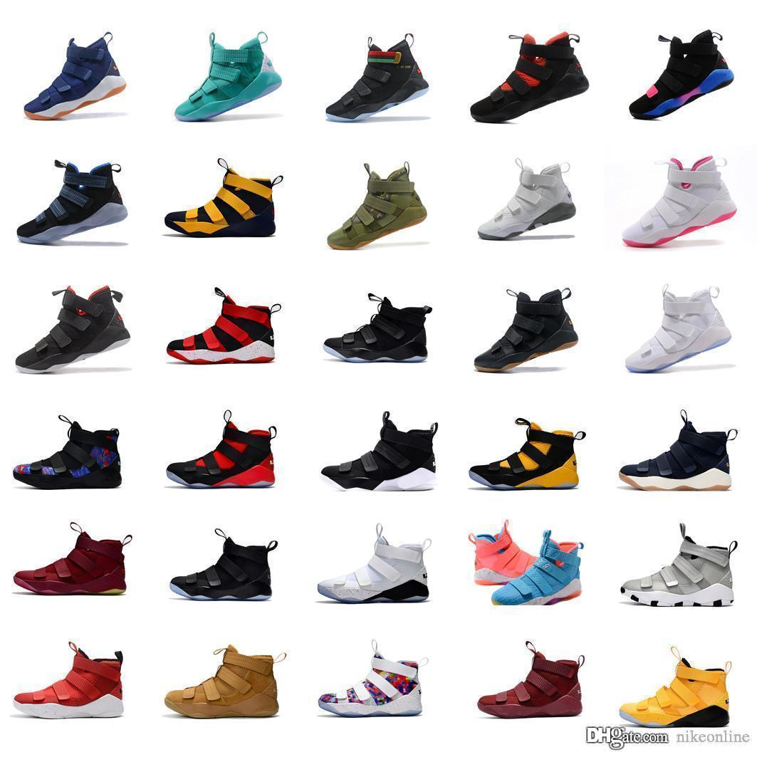 new product 7486e e43bd 2019 Mens Lebron Soldier 11 Basketball Shoes Team Red Black Gold White  Multi Color BHM Navy Wheat Youth Kids Soldiers Xi Sneakers With Box From ...