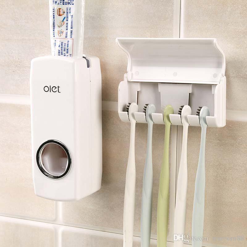 Herramienta De Baño Dispensador automático de pasta de dientes exprimidor Cepillo de Dientes Titular Conjunto de Rack