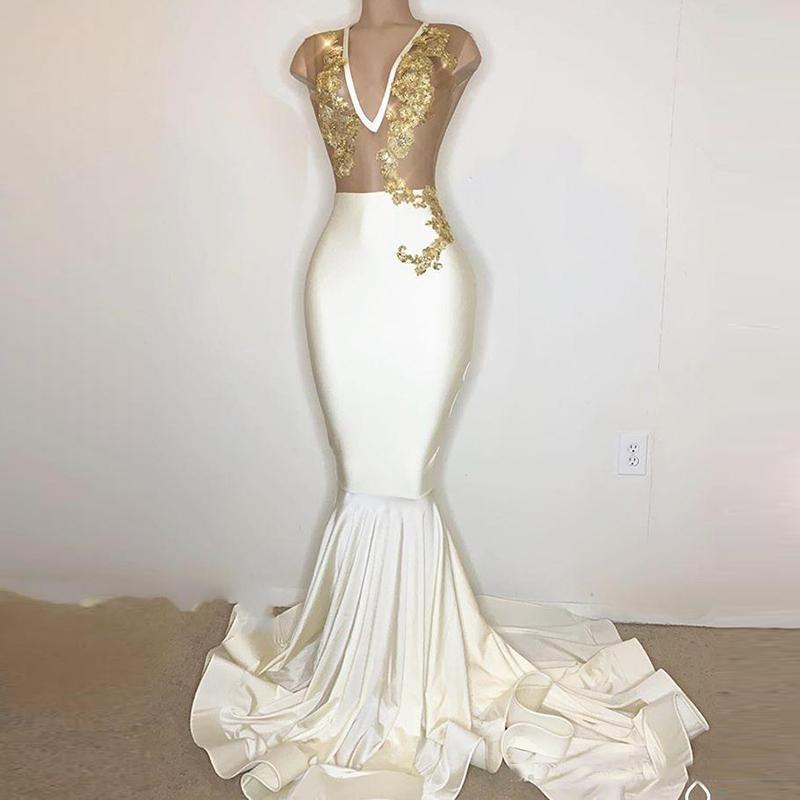 entrepreneur.cd Gold Lace Applique Mermaid Dresses Prom Party ...