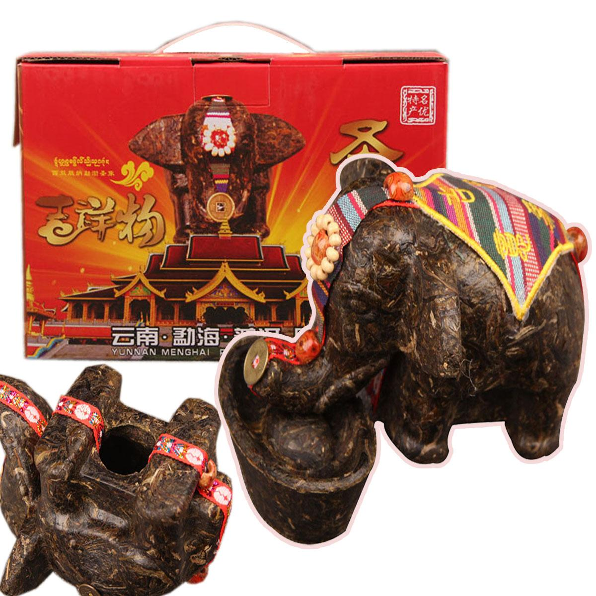 High quality 500g China Yunnan Raw Puer Tea Lucky Creative Gift Elephant shape Craft Pu'er Carving Gifts Green Food