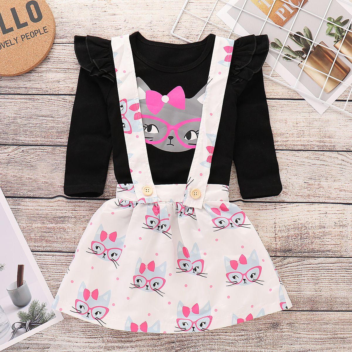 디자이너 아기 소녀는 옷을 럭셔리 아이 옷 슬링 드레스 2 개 의류 긴 고양이 프린트 티셔츠 탑+벨트 드레스