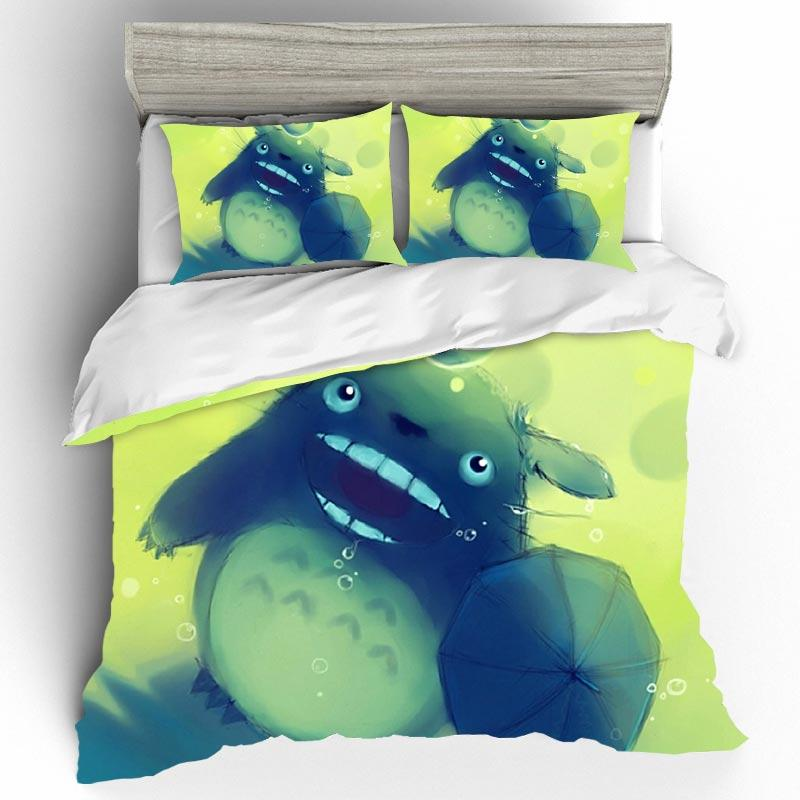 Cartoon Totoro High Quality Bedclothes With Pillowcase 3D King Size Bedding Sets Duvet Cover Single Size Bed Set Home Textiles
