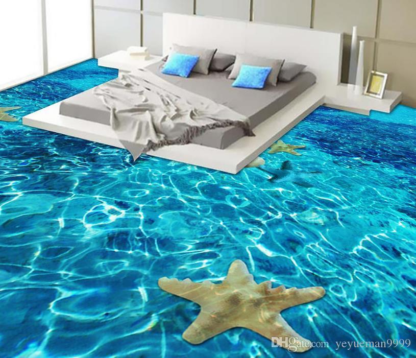 Azulejos del piso 3d personalizados papel tapiz fotográfico océano papel tapiz 3D pvc papel autoadhesivo piso 3d para sala de estar