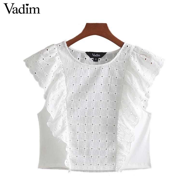 Vadim women sweet embroidery crop top hollow out ruffles shirts casual female cute white blouse blusas WA375