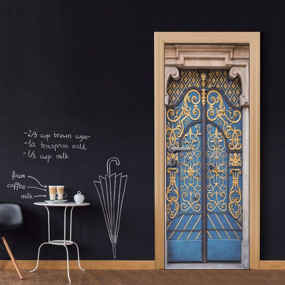 Wholesales DIY Door Sticker Classic Blue Gate Door Decal for Bedroom Living Room wallpapers Decal home accessories