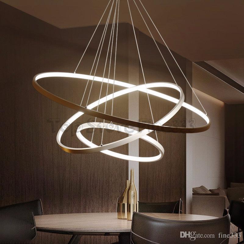 دائرة الحديثة أدى قلادة مصباح الاكريليك جولة الدائري ضوء شنقا تركيبات السقف ل غرفة المعيشة غرفة الطعام ديكور المنزل