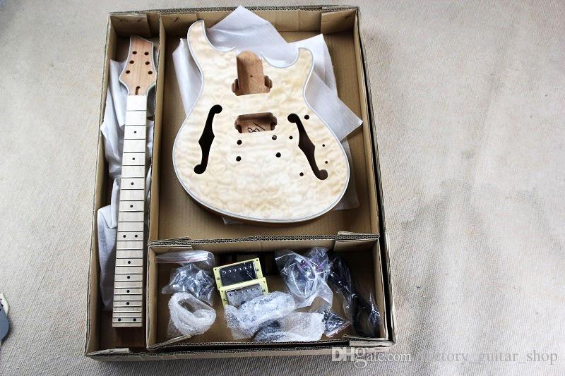 Mahogany Body Ans 넥, Flame Maple Veneer, Chrome Hardwares, DIY Guitar가있는 공장 맞춤형 중공형 일렉트릭 기타 키트 (부품)