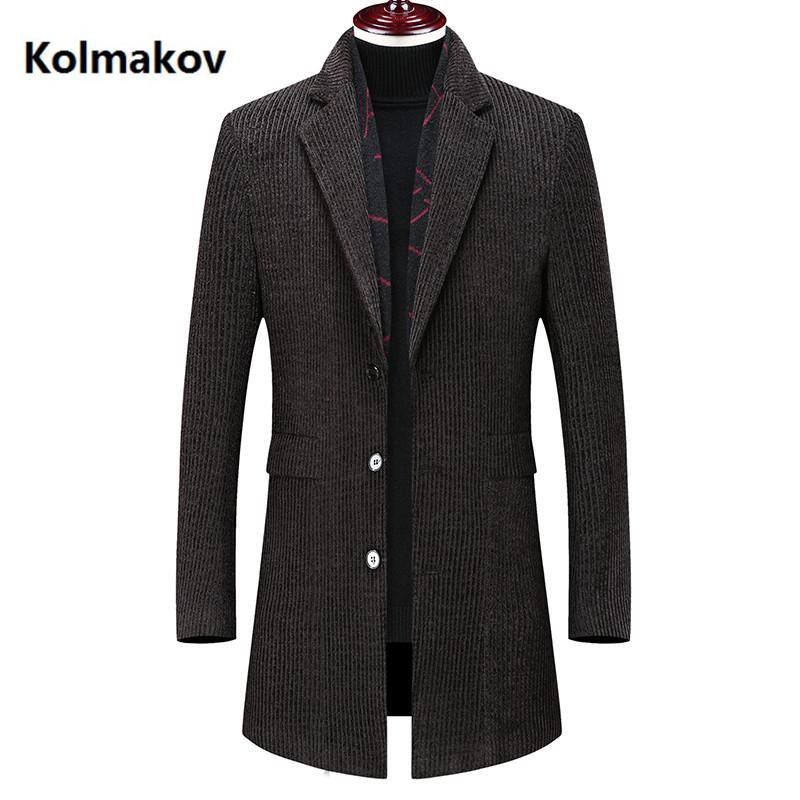 Kolmakov 2020 nuova sciarpa arrivo soprabito Tenere cappotto caldo degli uomini di alta qualità casuale trench giacca casual classiche da uomo da uomo 4XL