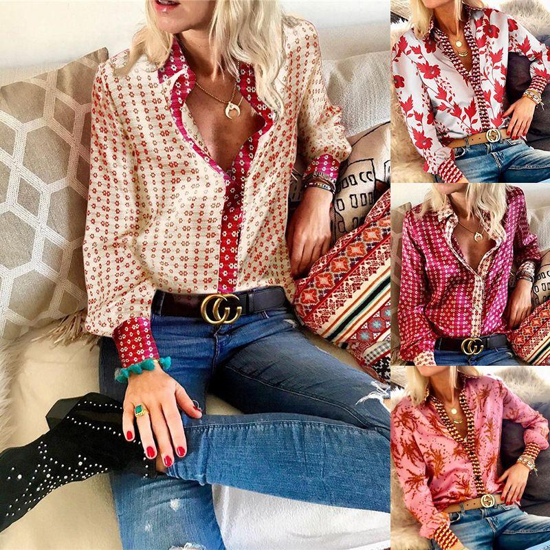 Floral Vintage satin Chemisier Femme Automne Casual Tops manches longues élégant bureau Taille Plus soie Blous Chemises