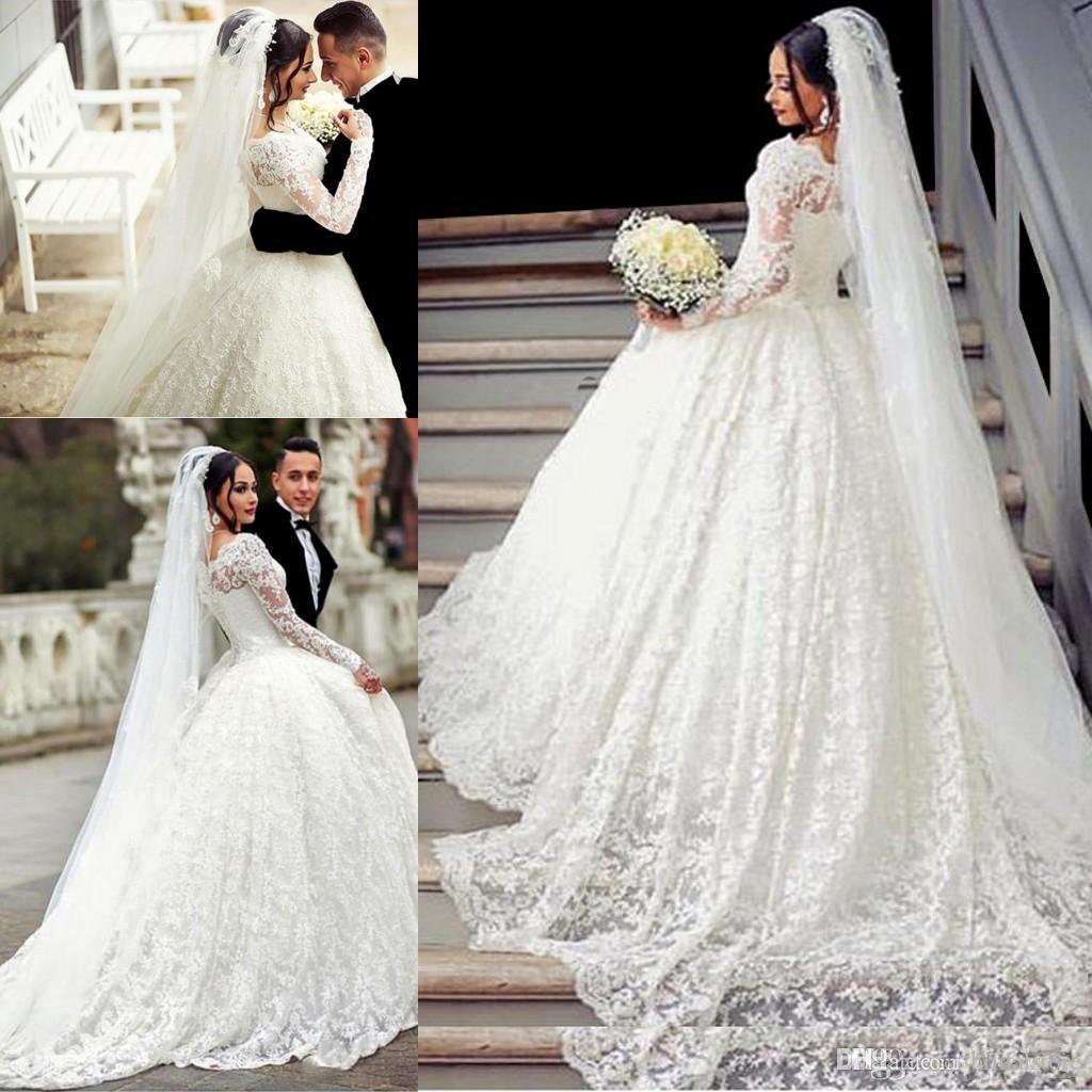 bustle ball gown lace wedding dresses arabic style appliques off the  shoulder sheer long sleeves wedding gowns with long train bridal gowns