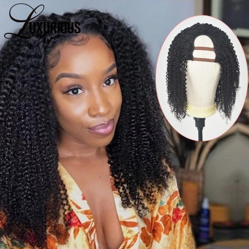 180 Densité Afro Kinky bouclés perruque brésilienne U partie perruque de cheveux humains Fermeture Moyen partie avant de dentelle perruques de cheveux humains pour les femmes