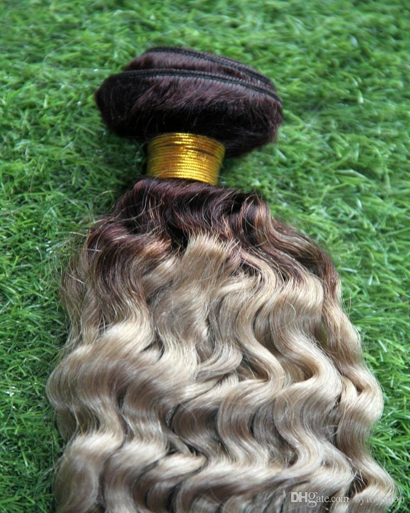 T nero / grigio Ombre colore estensioni dei capelli ricci 100% estensioni dei capelli umani Remy 10-30 pollici doppio trama tessitura dei capelli