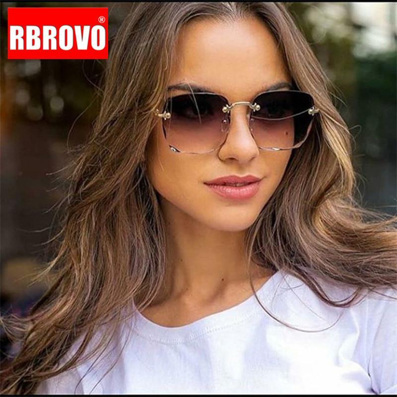 RBROVO sem aro óculos de sol retros Mulheres óculos de sol para as Mulheres Praça Sunglasses Feminino Vintage