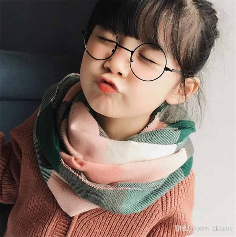 New Children Fashion Soft Scarves Long Ring Wraps Shawl Stole Signature Cotton Scarves Kids Scarves Neck Scarf