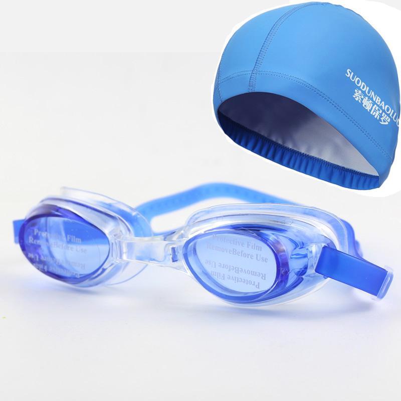 Nuovo adulti impermeabili nuotare nuotata Occhiali Occhiali Eyewear w Ear / involucro di protezione dei capelli PU Tessuto della protezione del cappello per gli uomini delle signore delle donne