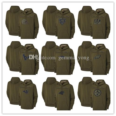 2019 Salut au service Olive Men Hoodie Green Bay Chicago Packer ours Minnesota Kansas City Pull chef Viking Houston Sweat Texan