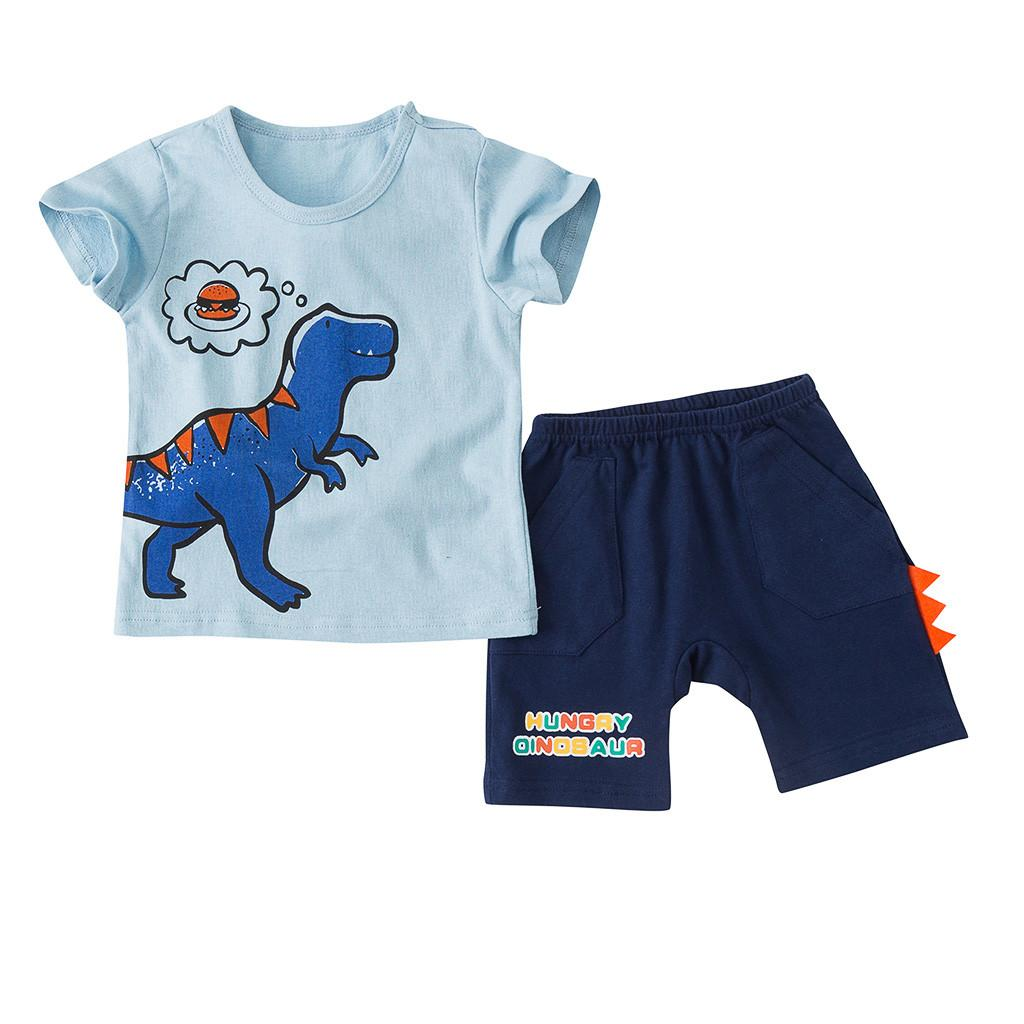 Toddler Baby Boys Girls Outfits Set Kids Short Sleeve Tee+Shorts 2PCS Age 0-6 Y
