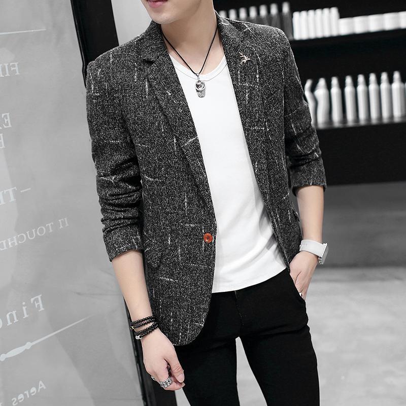 2019 Primavera y otoño Nueva marca Traje informal Masculino delgado Moda Cómodo vestido de negocios Chaqueta de traje de algodón de gran tamaño