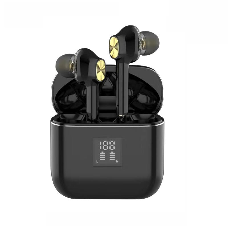 tws Dual Drive Stereo wireless bluetooth earbuds In-ear Headset Bass Earbuds LED Power Display IPX5 Waterproof with Microphone