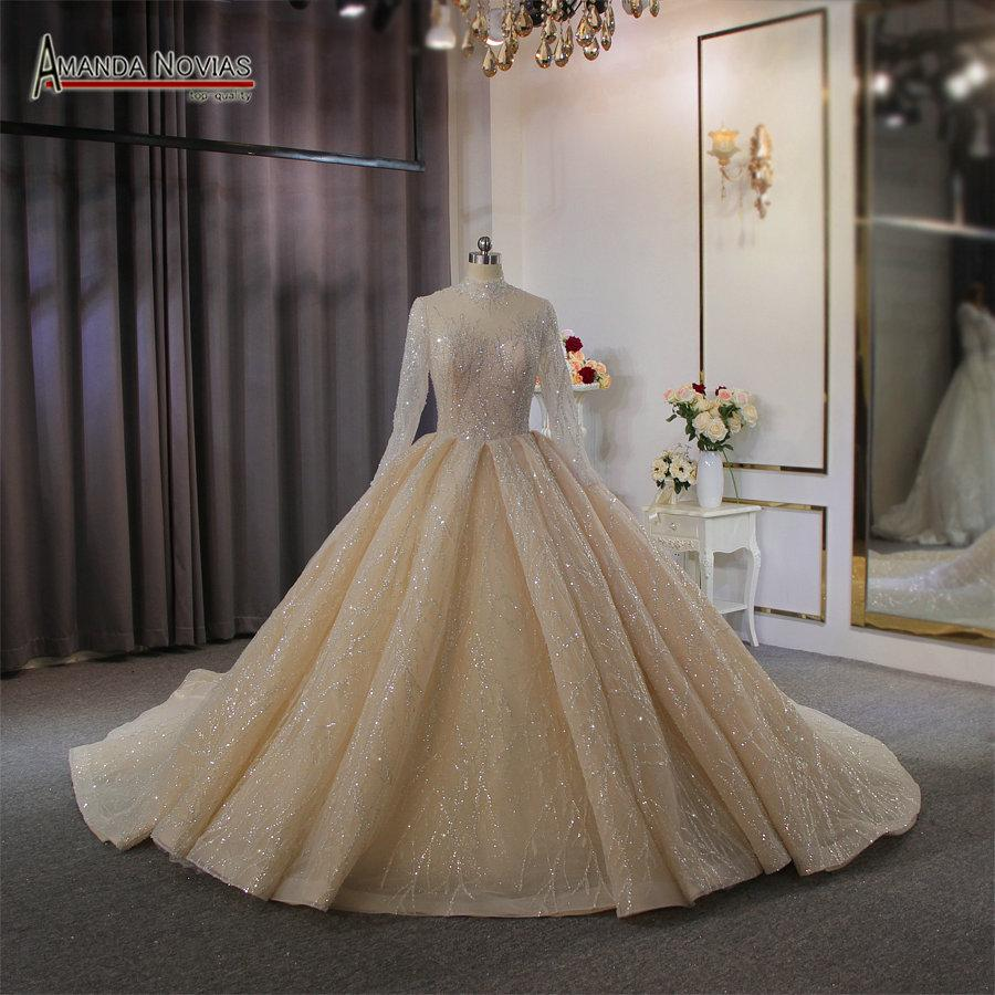 100 Real Pictures Luxury Long Sleeves Ball Gown Wedding Dresses