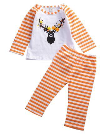 2020 resorte del bebé la ropa del otoño 2pcs cabrito del niño del bebé de la Navidad ropa ciervos Tops camisa de la raya de los pantalones de rayas traje de 6M-4T