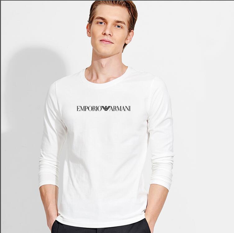 Erkek Uzun Kol Tişört Erkek Sonbahar / Kış 2019 Pamuklu erkek Yuvarlak Yaka İnce dibe Gömlek Büyük Tide