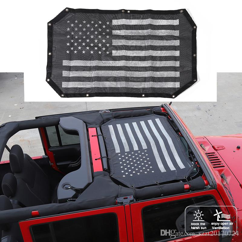 Black Car Roof Mesh UV Protection SunShade Top Cover For Jeep Wrangler JK 2007-2017 Auto Exterior Accessories (USA Flag)
