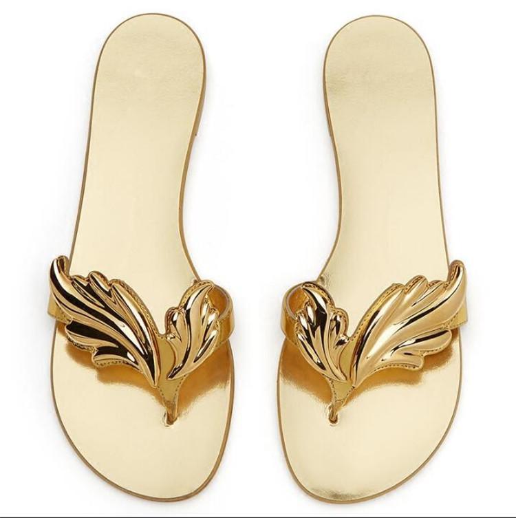 Summer Design Leaf Beach Slippers Angle Wings Flip Flops Ladies Flat Slip On Sandals Fashion Sliver Gold Women Slipper Shoes