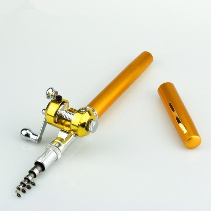 Outdoor Stream portatile Pocket telescopico Mini canna da pesca Pole Pen Shape piegato River Lake canna da pesca con mulinello