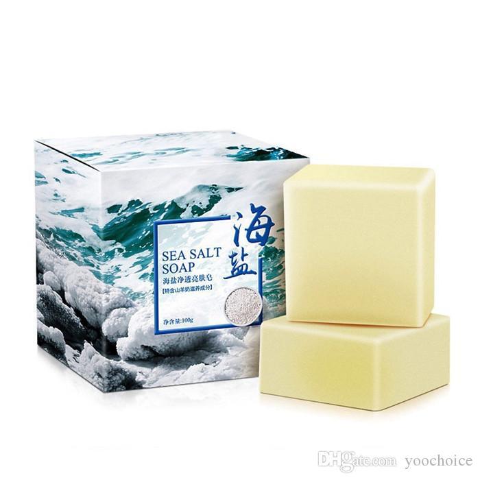 100G ترقية بحر الملح صابون منظف مرطب الوجه حليب الماعز الصابون العناية بالوجه غسل أساس الصابون 6PCS